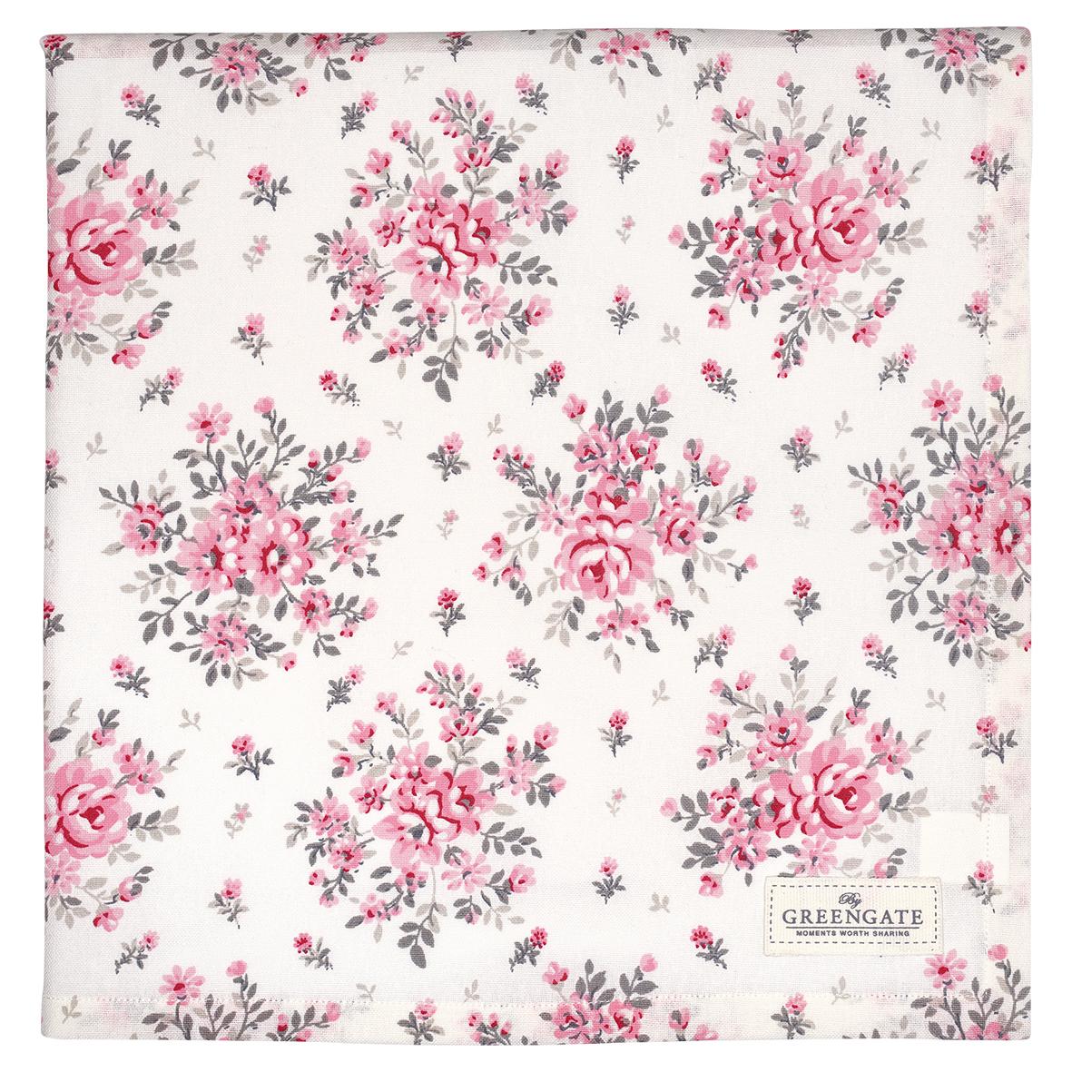 Greengate tischdecke flora white 140 x 140