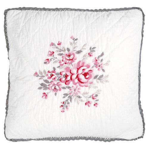 Greengate besticktes kissen flora white