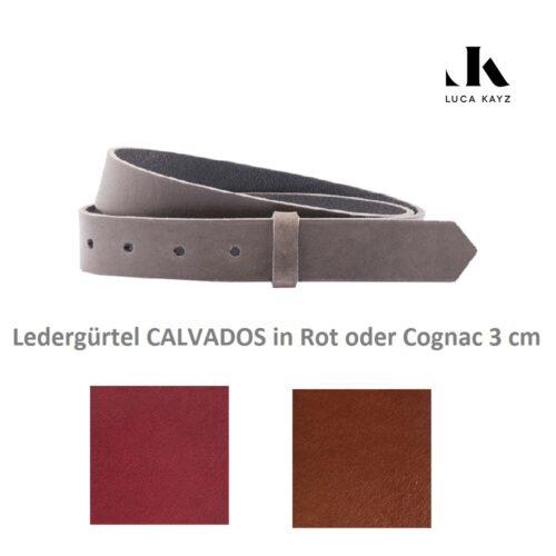 LUCA KAYZ Gürtel Calvados Cognac/Rot 3 cm
