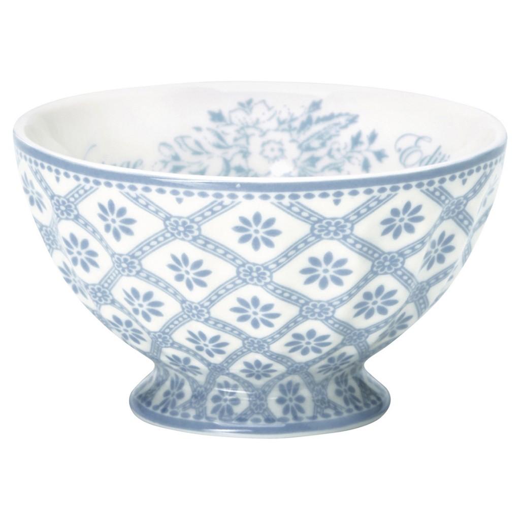 greengate french bowl bianca dusty blue m