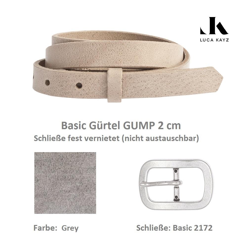 LUCA KAYZ Basic Gürtel Gump Grey 2 cm