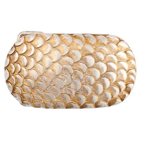 LUCA KAYZ Schließe Schuppen Gold für Gürtel 4 cm