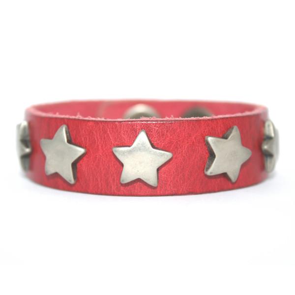 UmjuBelt Lederarmband Big Star Red