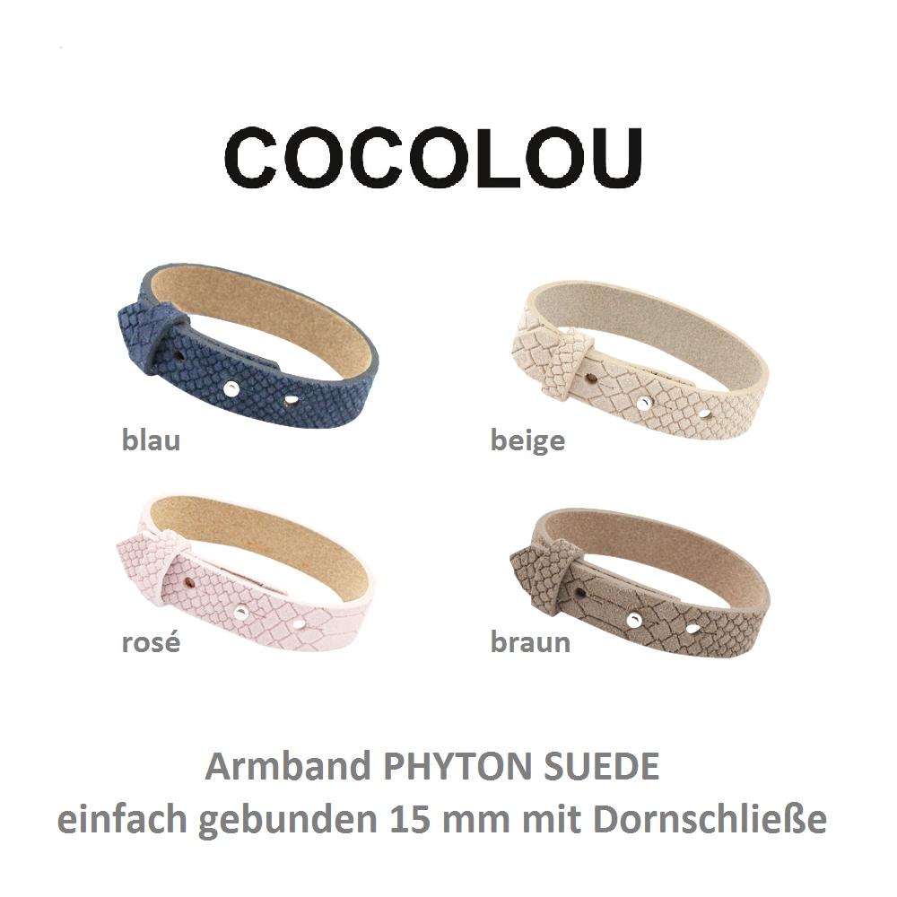 COCOLOU Armband PHYTON SUEDE mit Dornschließe 15 mm