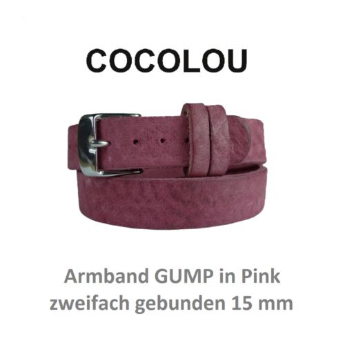 cocolou armband gump pink zweifach gebunden 15 mm