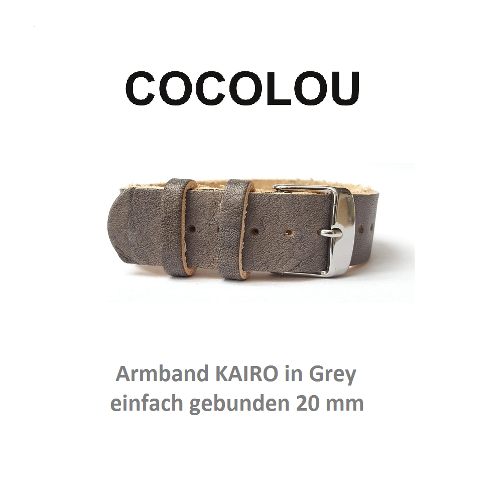 COCOLOU Armband KAIRO in Grey 2 cm