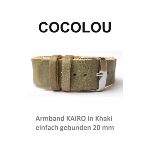 COCOLOU Armband KAIRO in Khaki 2 cm