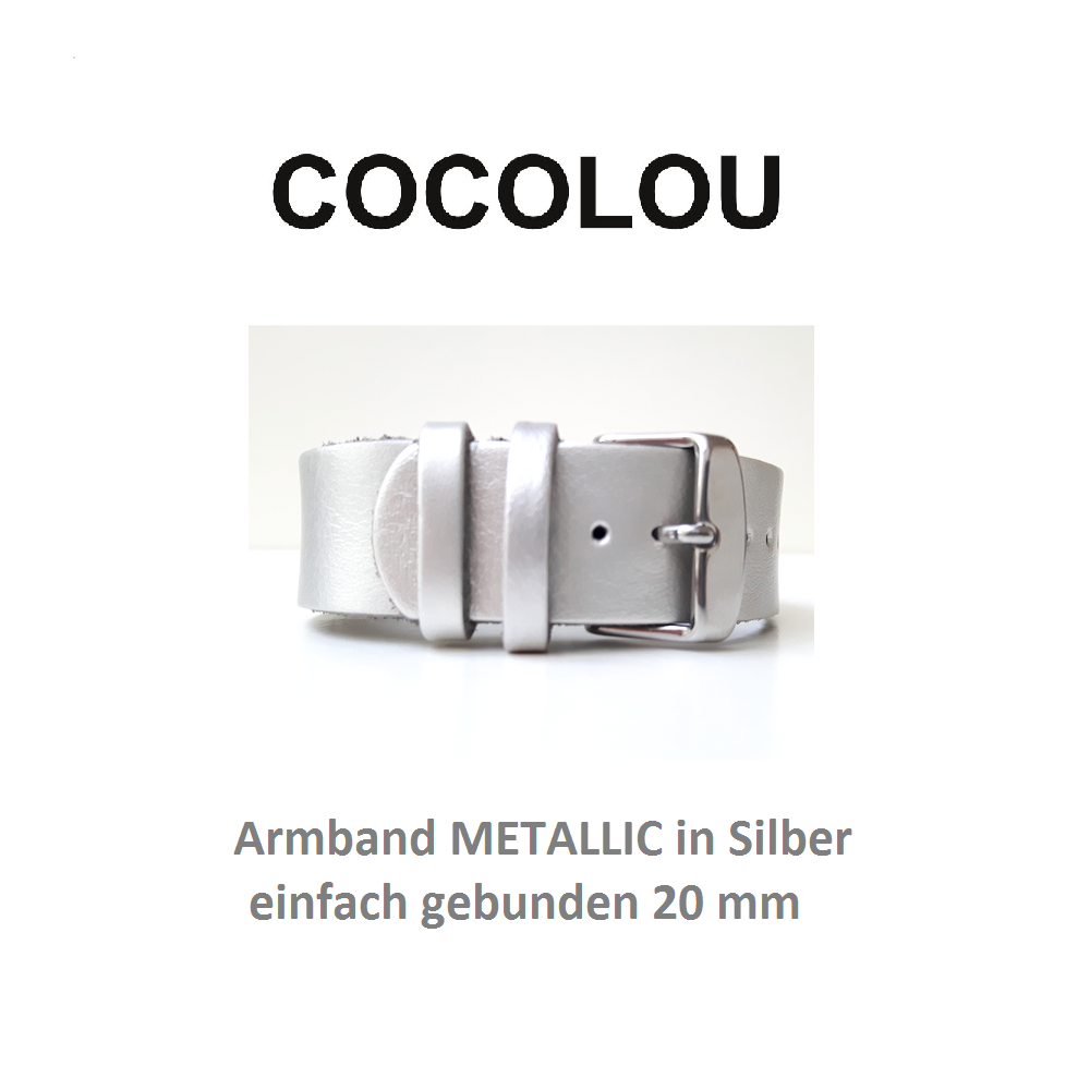 COCOLOU Armband METALLIC in Silber 2 cm