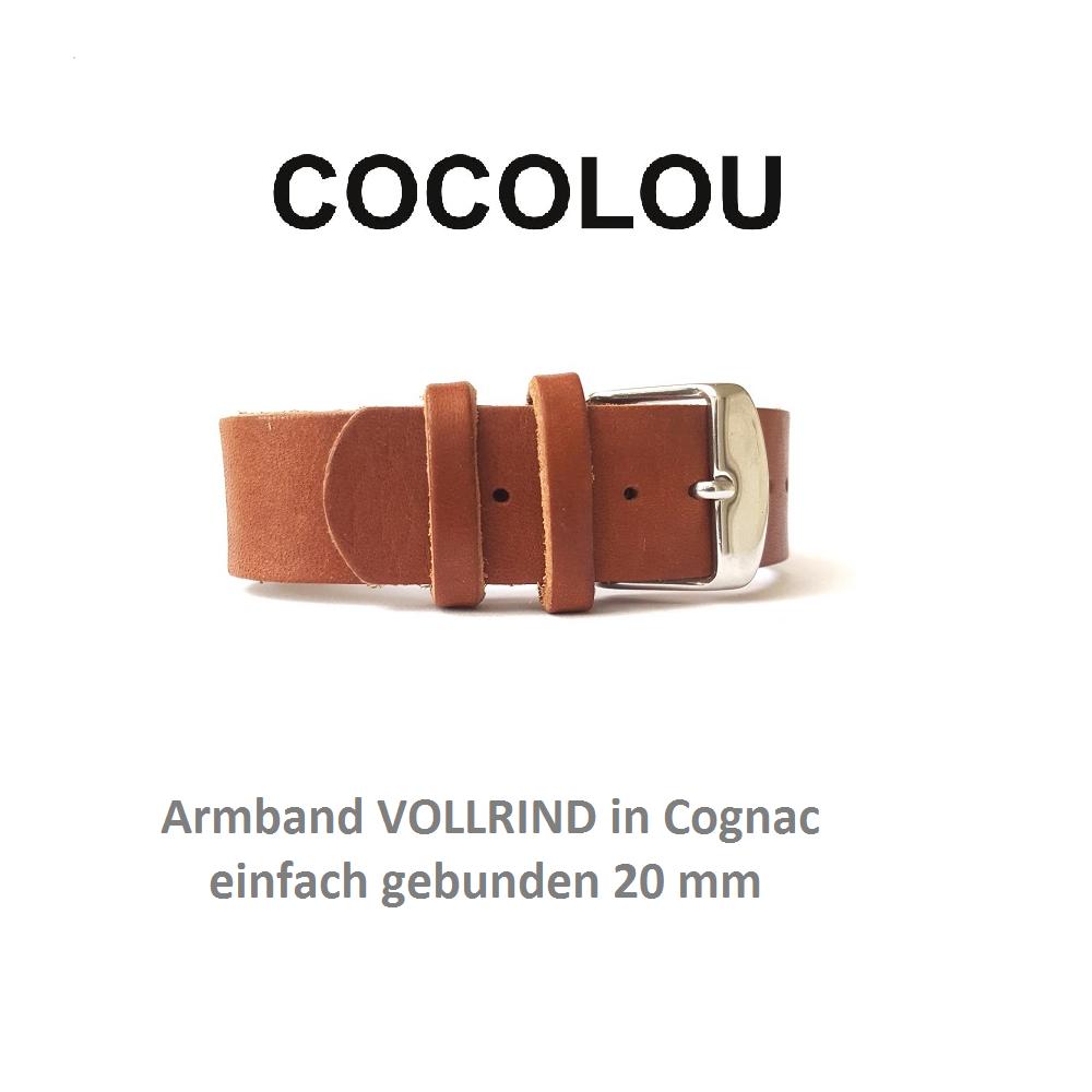 COCOLOU Armband Vollrind in Cognac 2 cm