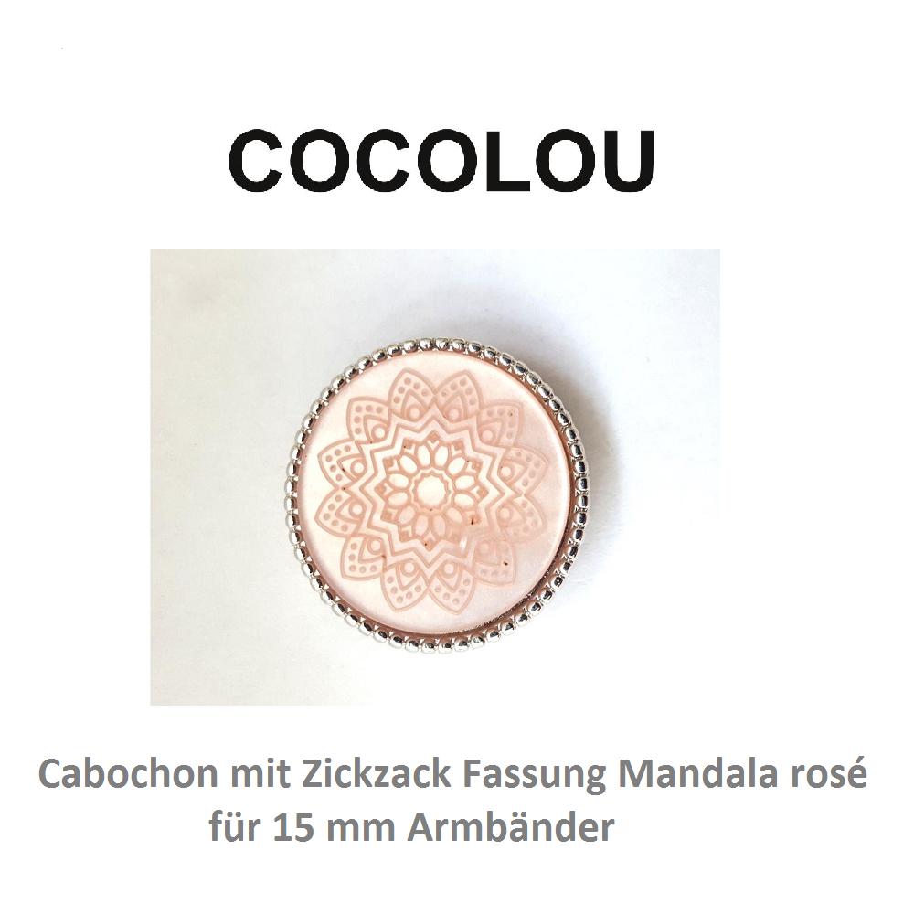 COCOLOU Cabochon Rund Rosa mit Mandala