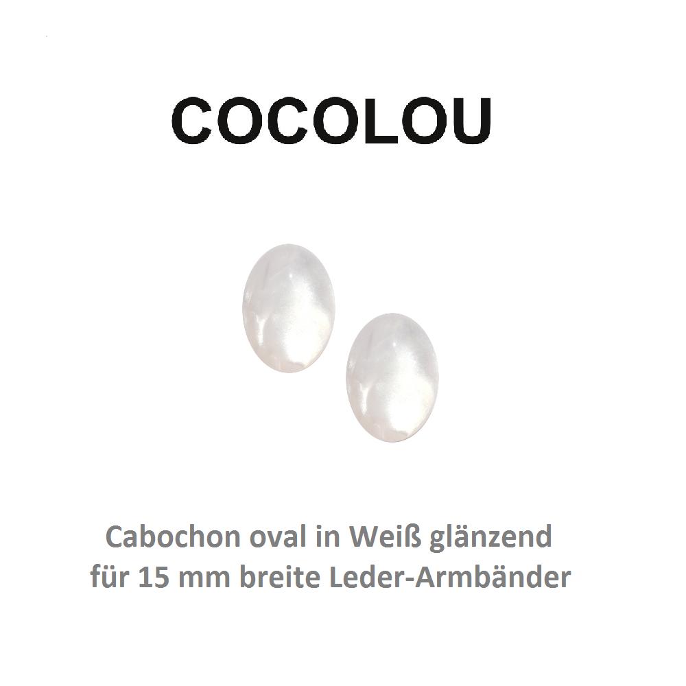 COCOLOU Cabochon Oval Weiß Glänzend