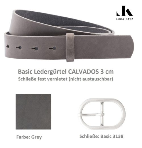 LUCA KAYZ Basic Gürtel Calvados Grey 3 cm Doppelschließe