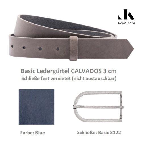 LUCA KAYZ Basic Gürtel Calvados Blue 3 cm mit Halbschließe