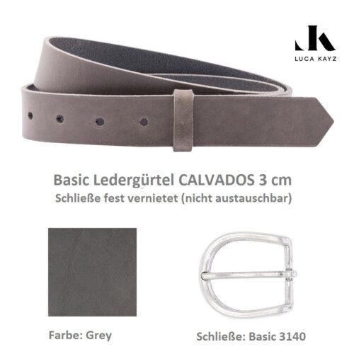 LUCA KAYZ Basic Gürtel Calvados Grey 3 cm Halbschließe