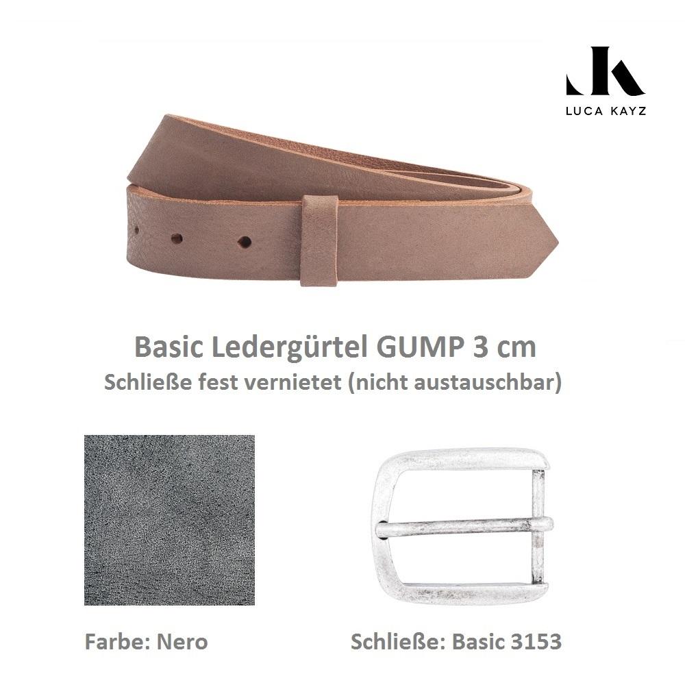 LUCA KAYZ Basic Gürtel Gump Nero 3 cm