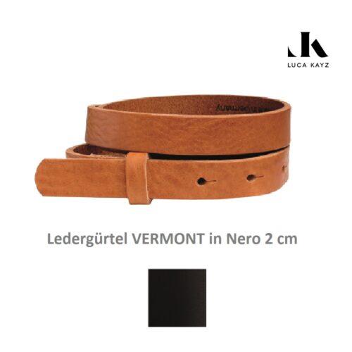 LUCA KAYZ Gürtel Vermont Nero 2 cm