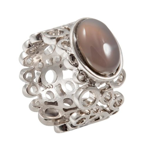 Sence Copenhagen Ring Silber mit Grauem Achat Z232