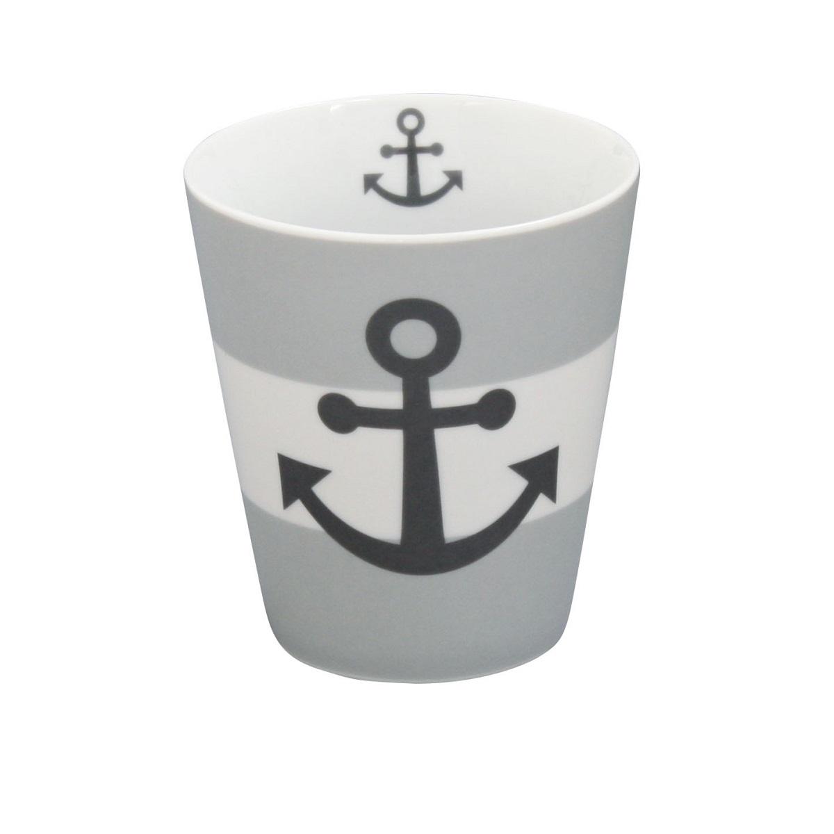 Krasilnikoff Happy Mug Becher Anker Grau