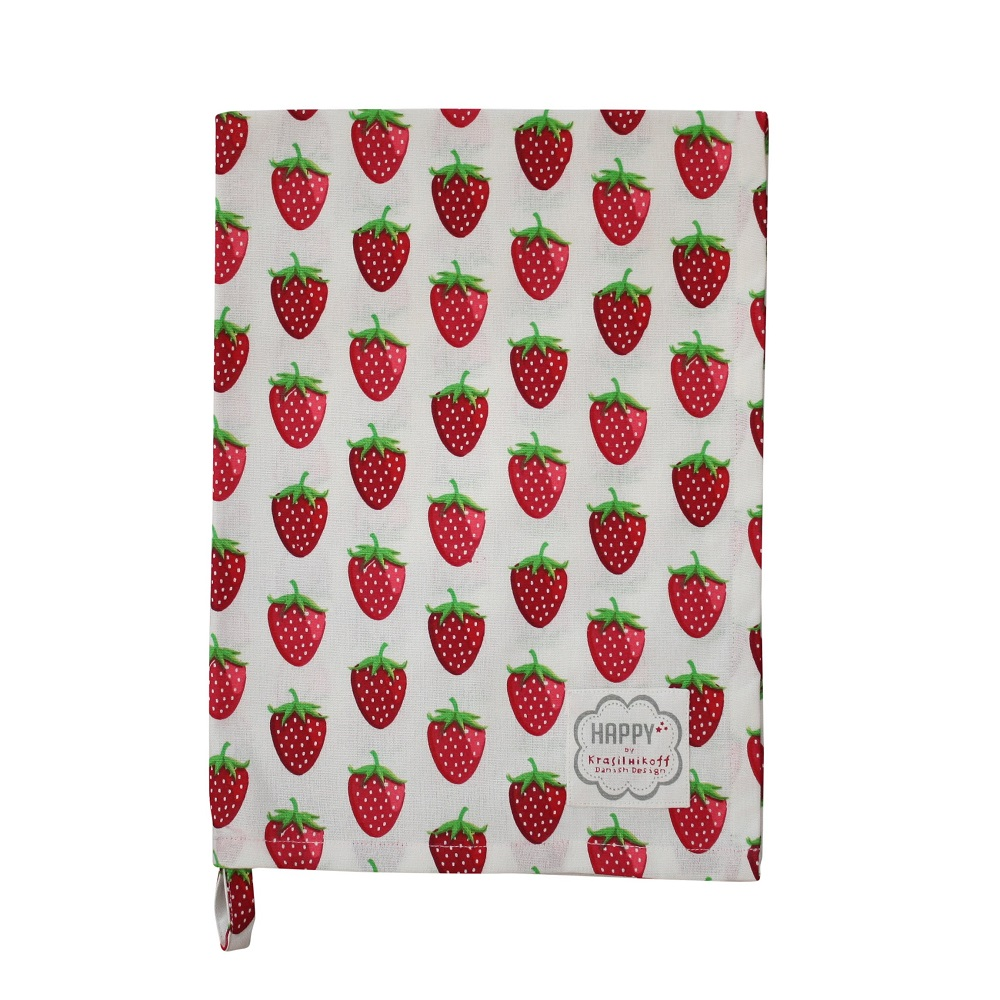 Krasilnikoff Geschirrhandtuch Strawberry White