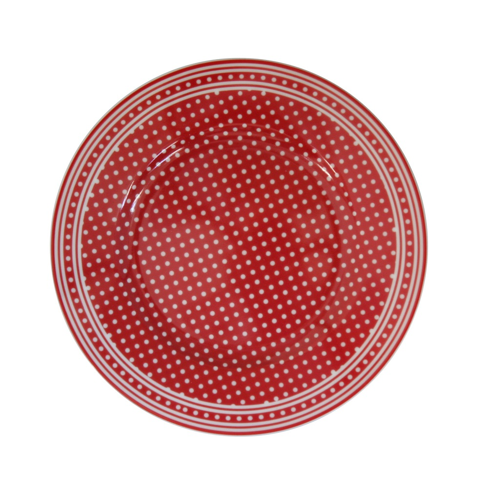 Krasilnikoff Teller Micro Dots Red