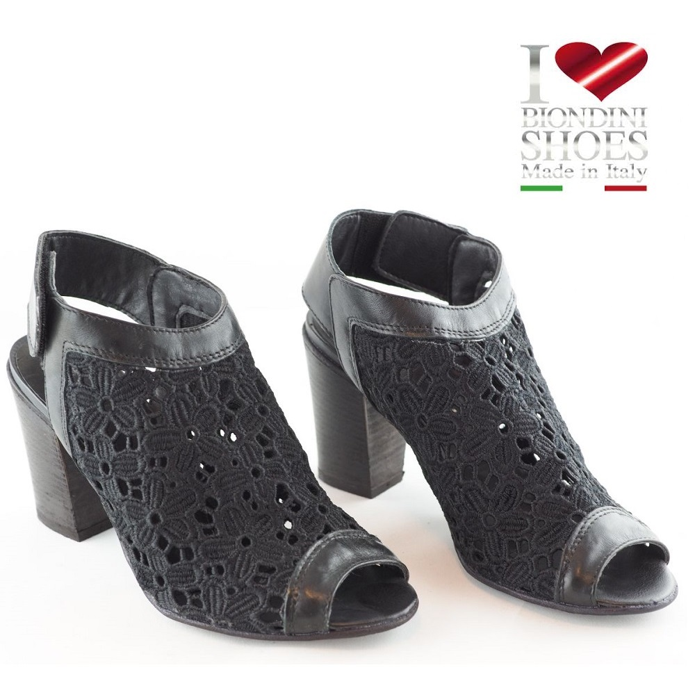 BIONDINI Sandale Leder/Stoff Schwarz
