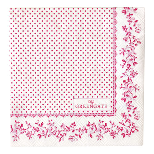 GreenGate Papierserviette Audrey Raspberry Small 20 Stck.