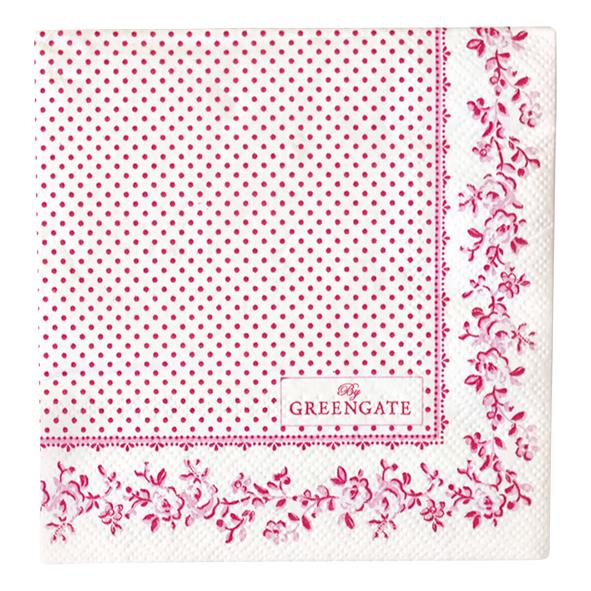 GreenGate Papierserviette Audrey Raspberry Small 20 Stck.