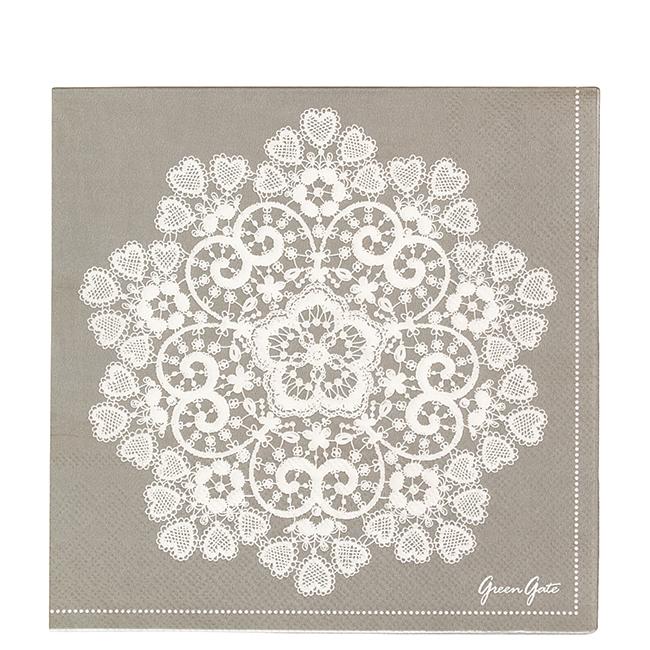 GreenGate Papierserviette Lace Warm Grey