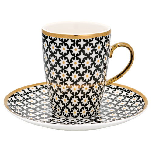 GreenGate Espressotasse Lara Gold mit Untertasse
