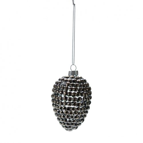 Greengate Xmas Ball Cone With Beads Warm Grey
