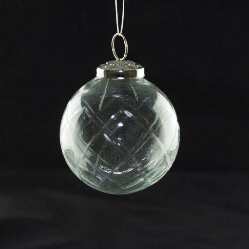 KAHEKU Weihnachtskugel Glas mit Schliff