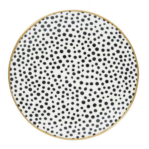 GreenGate Teller Dot Black/Gold 21 cm