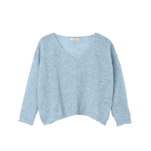 ANOTHER ME Strickpullover ALPAKA Nice & Easy Powder Blue
