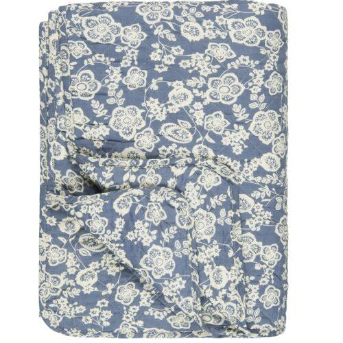 Ib Laursen Decke in Blau mit Blumen